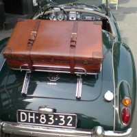 MGA donkergroen met koffer
